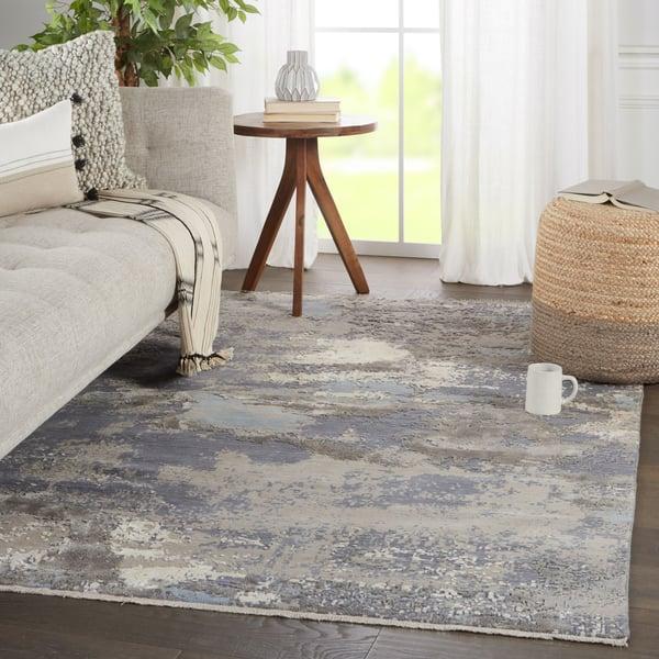 Grey, Light Blue (DLM-01) Contemporary / Modern Area Rug