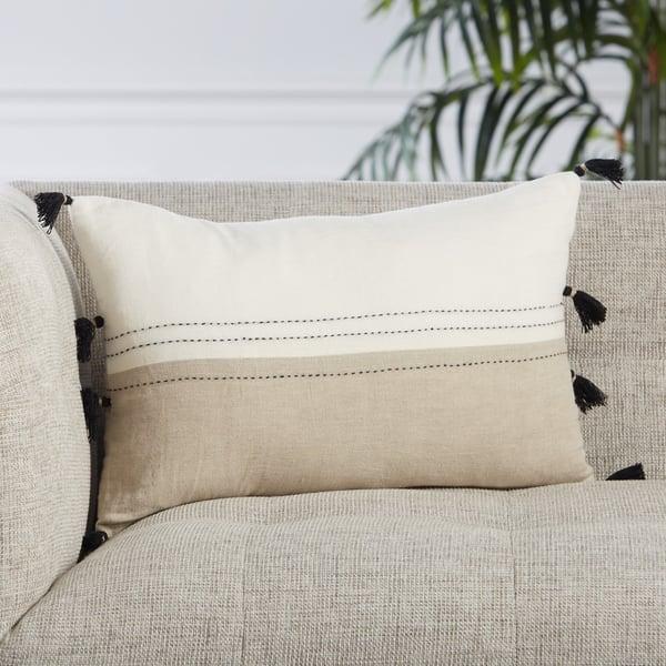 White, Beige (TGA-01) Contemporary / Modern Pillow