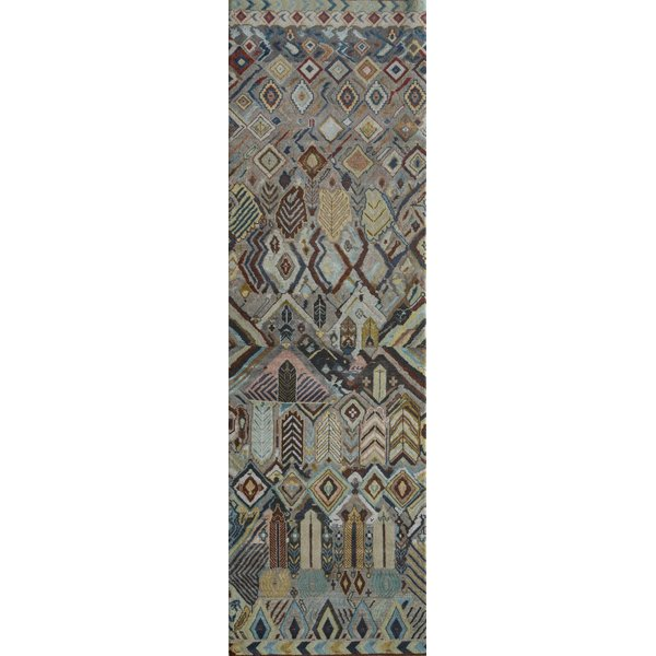 Grey, Blue, Red (LES-656) Traditional / Oriental Area Rug