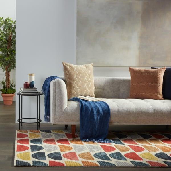 Blue, Red, Orange (AMA-03) Contemporary / Modern Area Rug