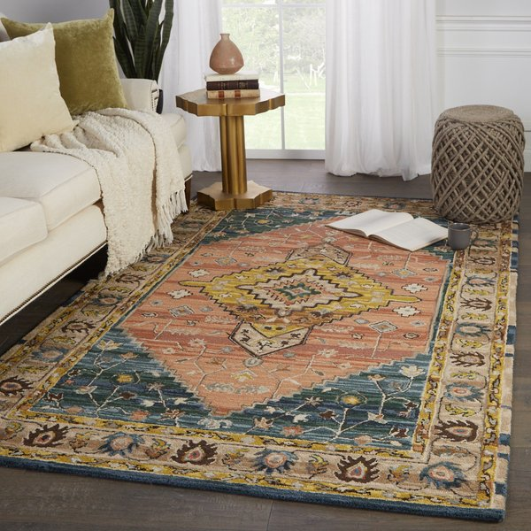 Pink, Yellow (COM-13) Traditional / Oriental Area Rug