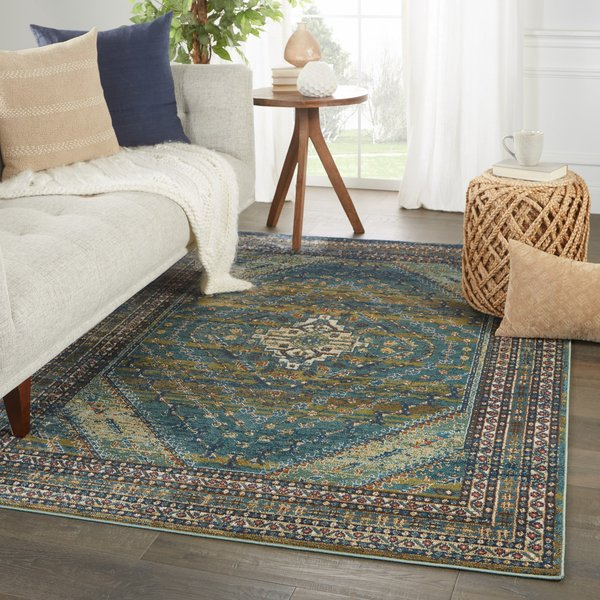 Blue, Green (PS-01) Bohemian Area Rug