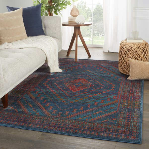 Blue, Red (PSA-05) Bohemian Area Rug