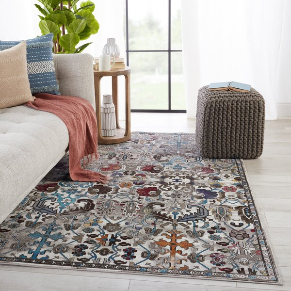 Grey, Blue, White (BOR-11) Traditional / Oriental Area-Rugs