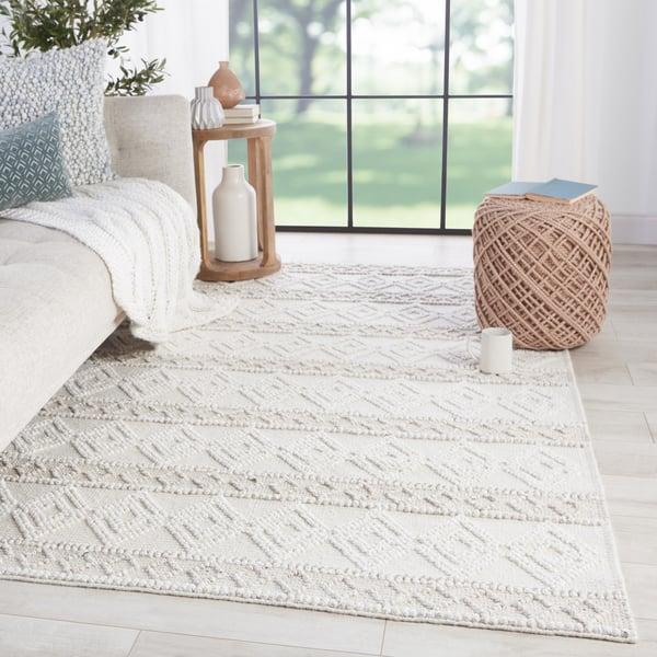 White, Light Grey (COE-01) Moroccan Area-Rugs