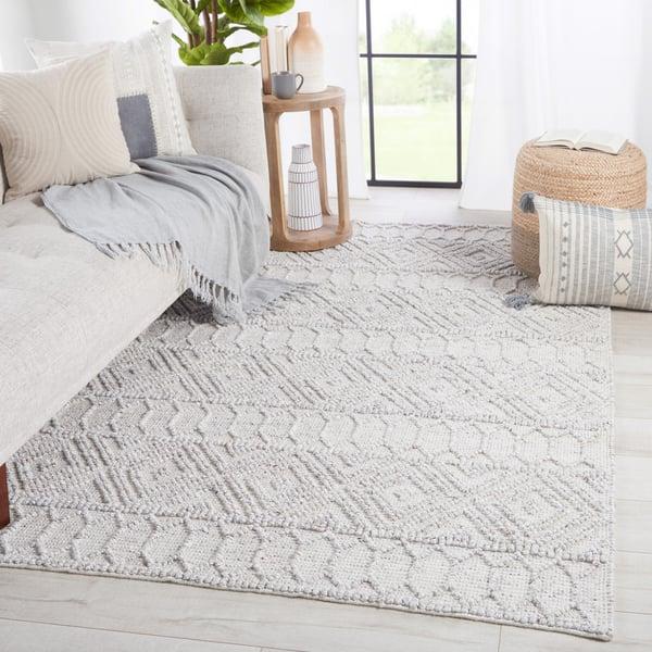 Light Grey, White (COE-02) Moroccan Area-Rugs