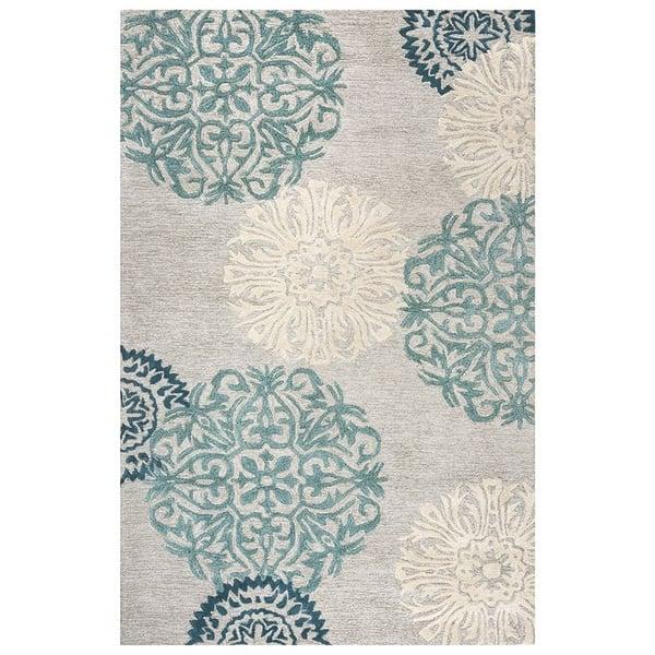 Light Gray, Ivory, Charcoal, Aqua Contemporary / Modern Area Rug
