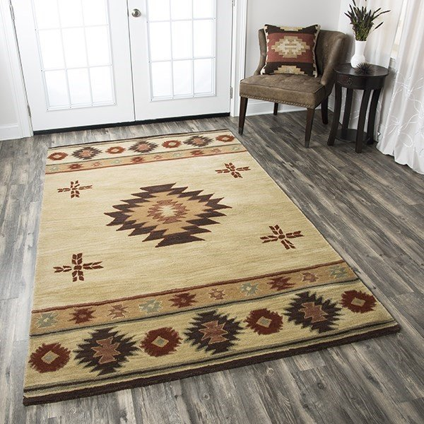 Beige, Brown, Gold, Gray, Light Rust Southwestern Area Rug