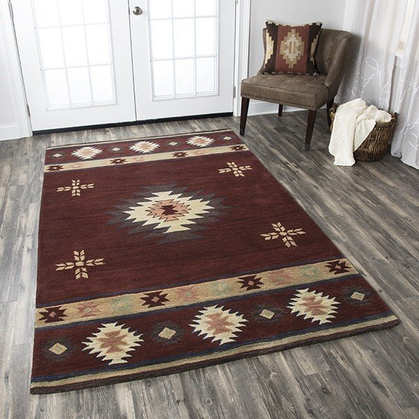 Red, Tan, Gray, Beige Southwestern Area Rug