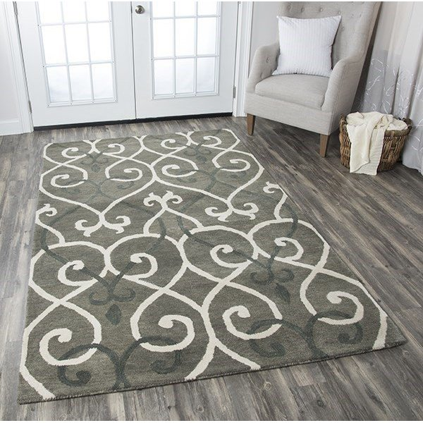 Gray, Taupe, Black Contemporary / Modern Area Rug