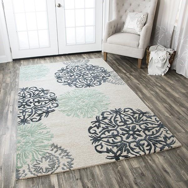 Beige, Aqua, Charcoal, Slate Contemporary / Modern Area Rug