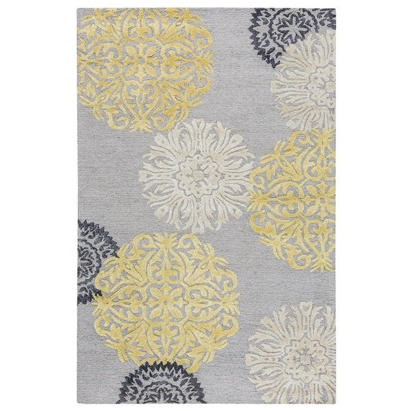 Gray, Yellow, Ivory Contemporary / Modern Area Rug