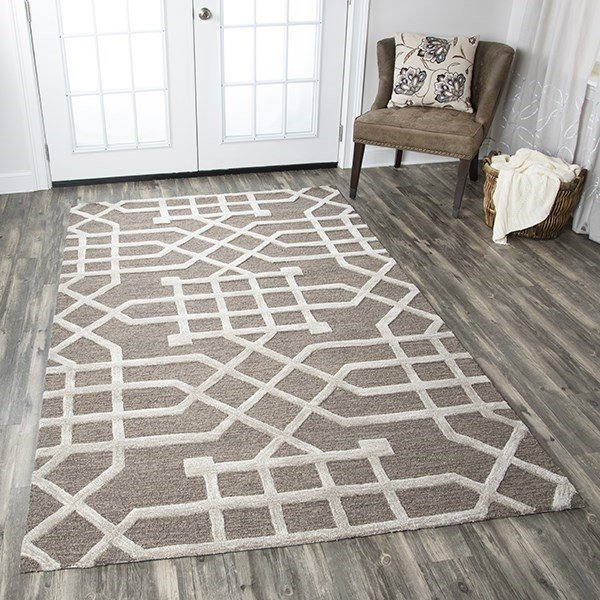 Taupe, Tan Geometric Area Rug