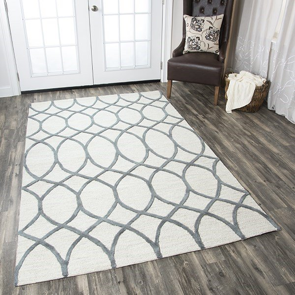 Khaki, Gray Contemporary / Modern Area Rug