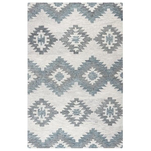 Ivory, Gray, Light Blue Southwestern Area Rug