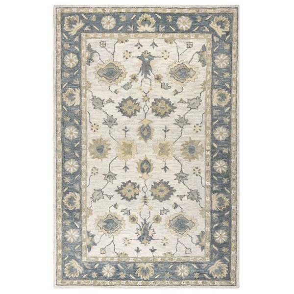 Natural, Gray Traditional / Oriental Area Rug