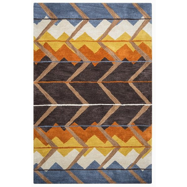 Blue, Off White, Gold, Rust Abstract Area Rug