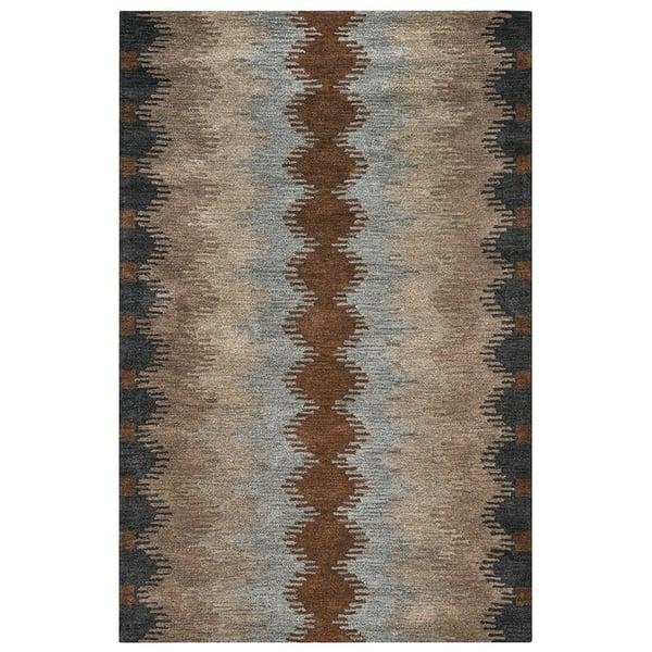 Gray, Rust, Khaki, Light Brown Abstract Area Rug