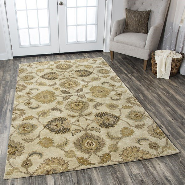 Tan, Gold, Sage, Brown Traditional / Oriental Area Rug