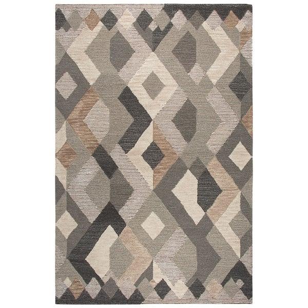Natural, Dark Brown, Copper (A) Geometric Area Rug