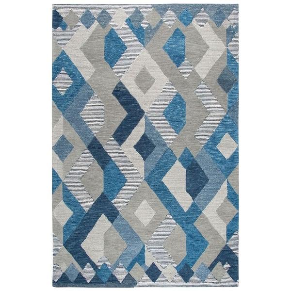Natural, Dark Blue, Grey (A) Geometric Area-Rugs