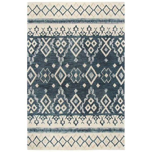 Natural, Grey, Dark Blue (A) Moroccan Area Rug