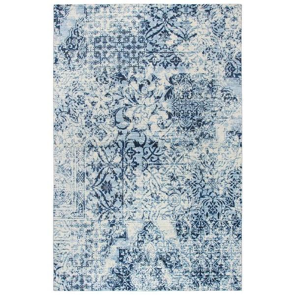 Ivory, Blue, Dark Blue Vintage / Overdyed Area Rug