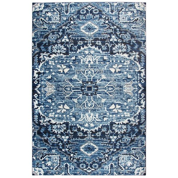 Light Blue, Dark Blue, Ivory  Traditional / Oriental Area-Rugs
