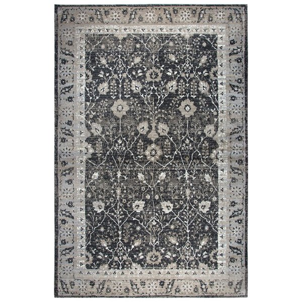 Black, Grey, Tan, Ivory Traditional / Oriental Area Rug
