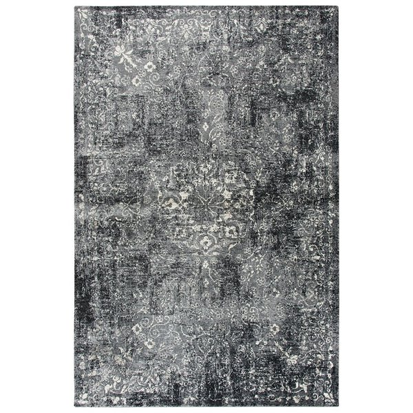 Grey, Dark Grey, Black, Ivory Vintage / Overdyed Area Rug