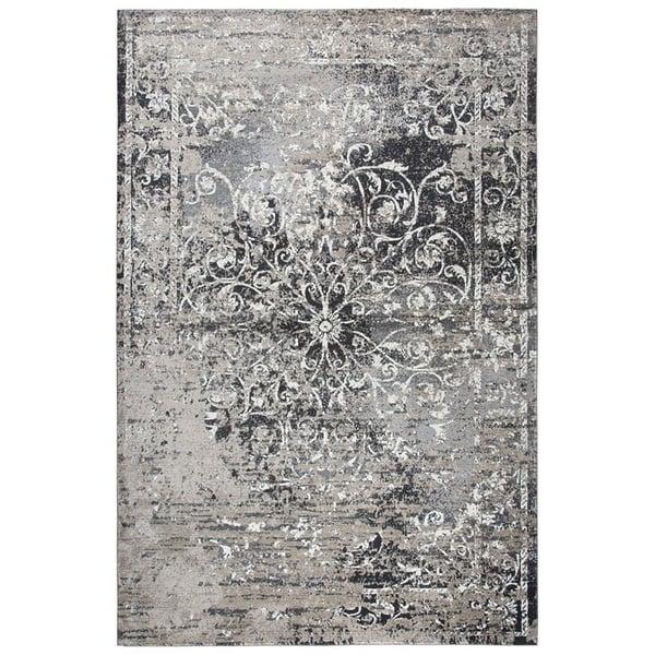Taupe, Grey, Ivory, Black Vintage / Overdyed Area Rug