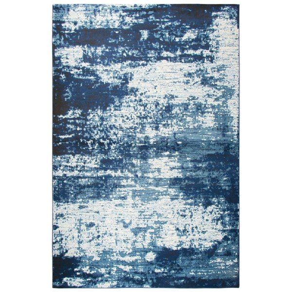 Blue, Ivory, Dark Blue Contemporary / Modern Area Rug