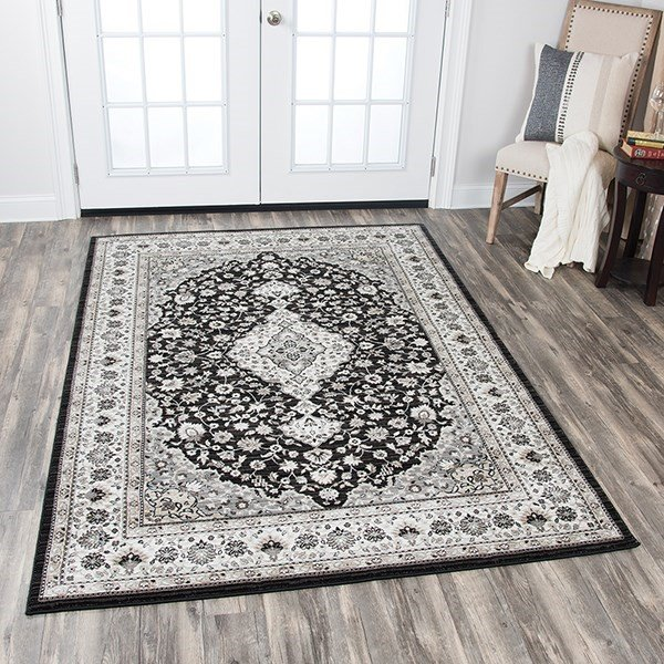 Black, Ivory, Sage Green, Taupe Traditional / Oriental Area Rug