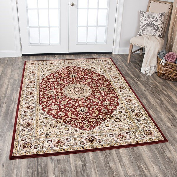 Red, Ivory, Gold, Sage Green, Grey Traditional / Oriental Area Rug