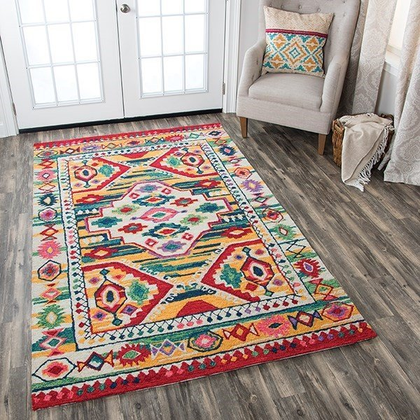 Natural, Blue, Teal, Pink, Red Bohemian Area Rug
