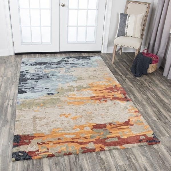 Tan, Grey, Black, Orange, Gold, Aqua Abstract Area Rug