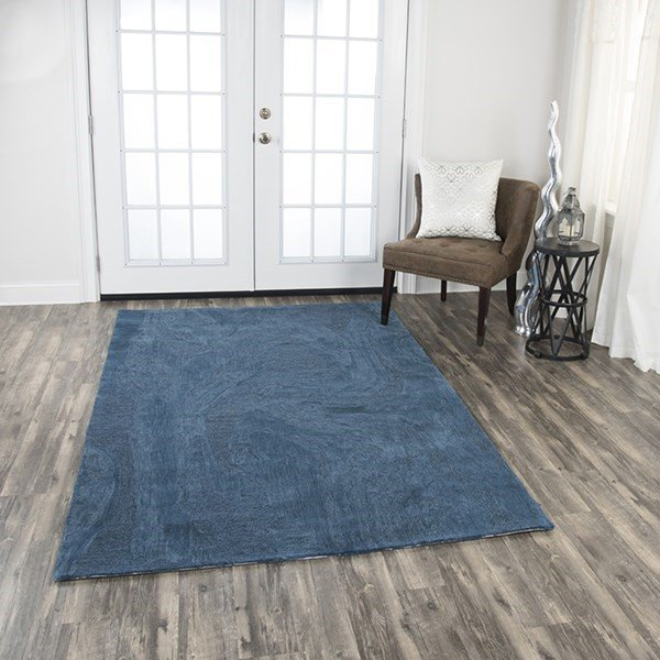 Blue Solid Area Rug
