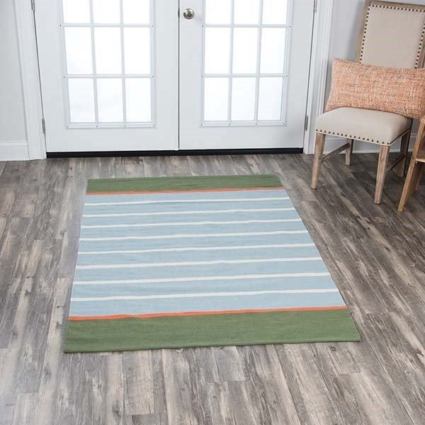Green, Grey (FT-847A) Striped Area Rug