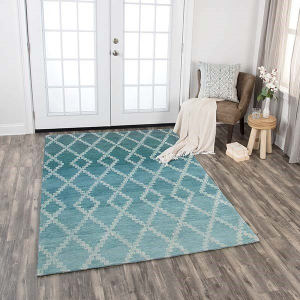 Teal, Grey, Blue, Ivory (DUN-104) Contemporary / Modern Area Rug
