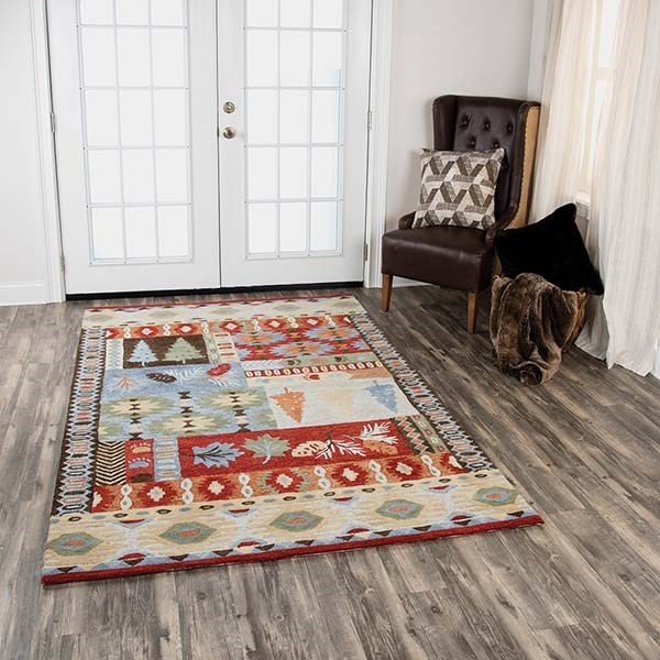 Red, Blue, Beige Country Area Rug
