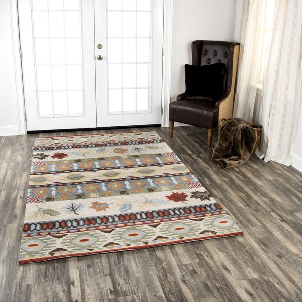 Beige, Blue, Brown Country Area Rug