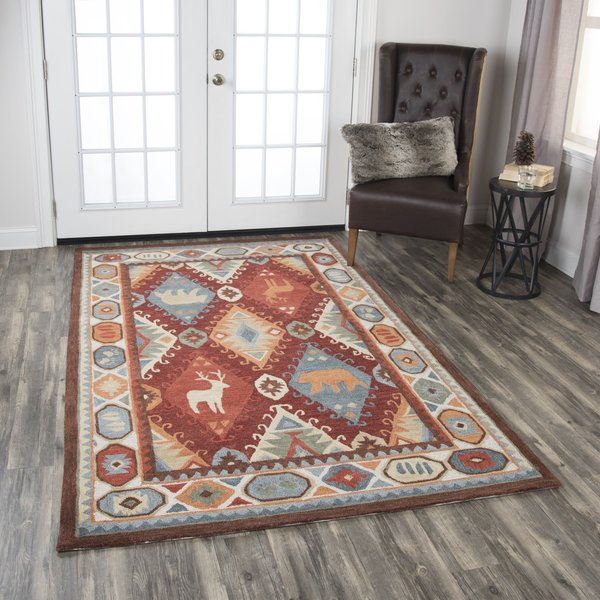 Red, Blue, Beige, Brown Country Area Rug
