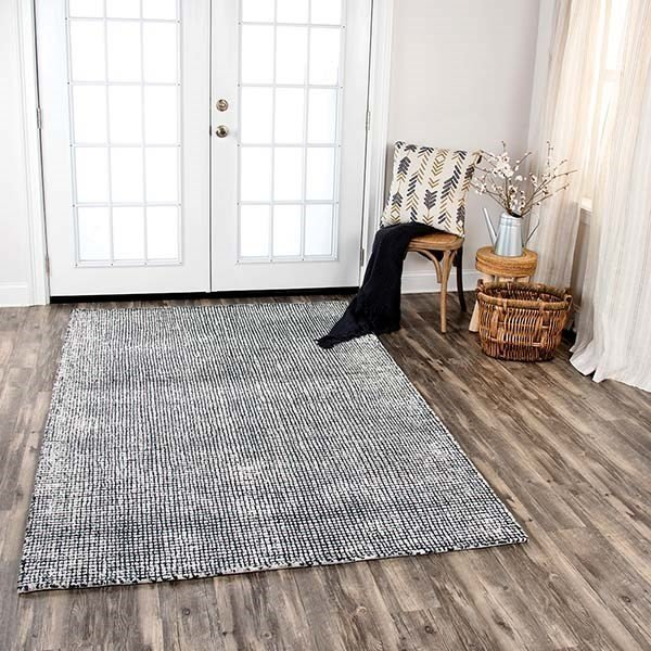 Black, Beige (TAL-102) Contemporary / Modern Area Rug