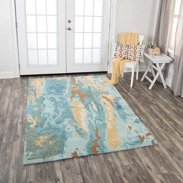 Blue, Grey, Teal Abstract Area-Rugs