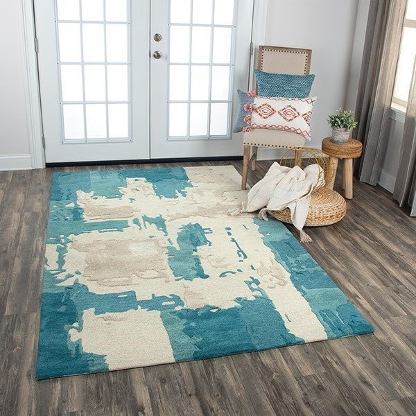 Grey, Blue, Taupe Abstract Area Rug
