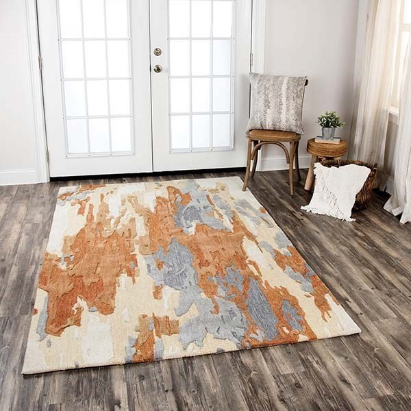 Brown, Beige, Ivory Abstract Area Rug