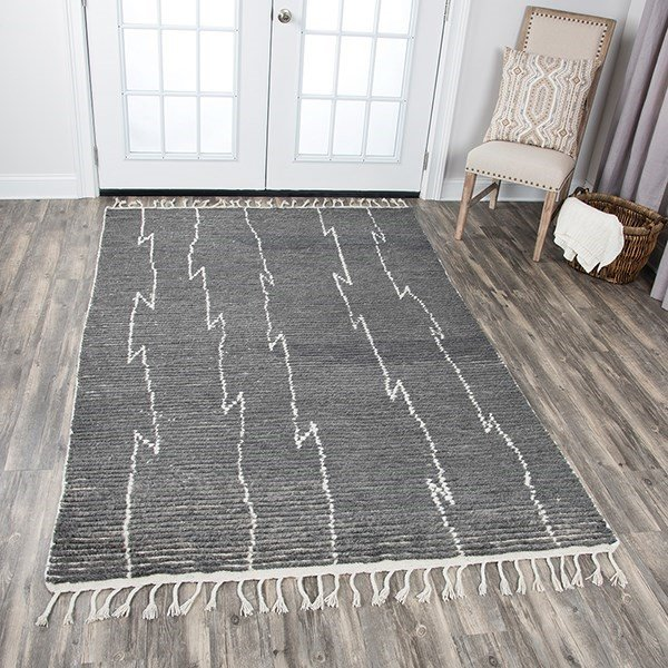 Grey, Natural Striped Area Rug