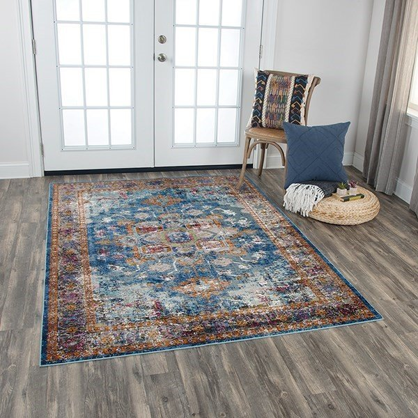 Blue, Rust, Gold Traditional / Oriental Area Rug