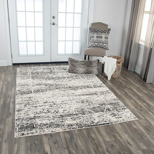 Ivory, Silver, Taupe Vintage / Overdyed Area Rug