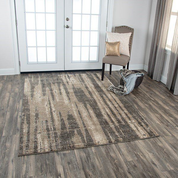 Beige, Taupe Abstract Area-Rugs